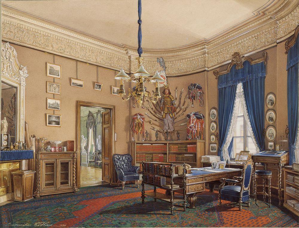 Зимний дворец. Спальня на половине Александра I. Акварель В. Головиной