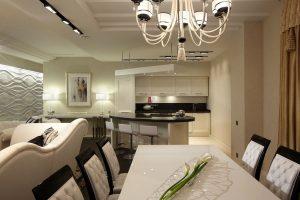 Интерьер кухни и гостиной в квартире студии