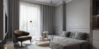 Серый цвет обоев в интерьере